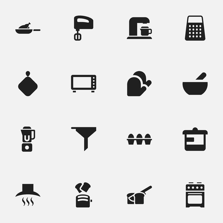 Set Of 16 Editable Food Icons. Includes Symbols Such As Egg Carton, Grill, Soup And More. Can Be Used For Web, Mobile, UI And Infographic Design.