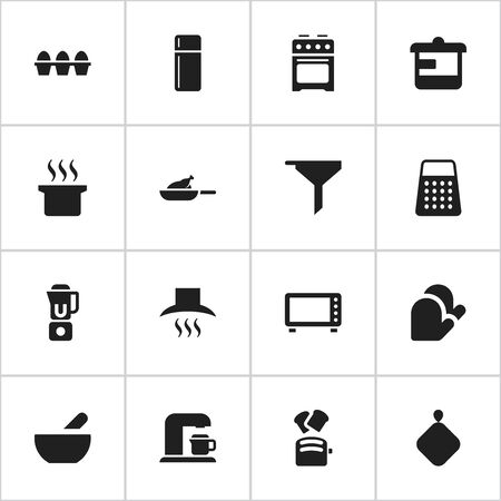 Set Of 16 Editable Cooking Icons. Includes Symbols Such As Soup Pot, Slice Bread, Utensil And More. Can Be Used For Web, Mobile, UI And Infographic Design.