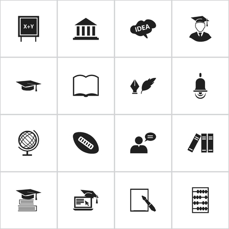 Set Of 16 Editable Education Icons. Includes Symbols Such As Graduation Hat, Book, Literature And More. Can Be Used For Web, Mobile, UI And Infographic Design.