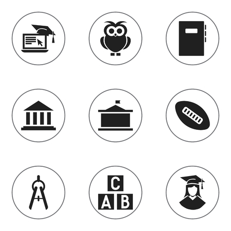 univercity: Set Of 9 Editable University Icons. Includes Symbols Such As Univercity, Distance Learning, Museum And More. Can Be Used For Web, Mobile, UI And Infographic Design.
