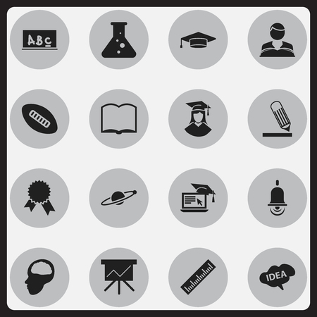 baccalaureate: Set Of 16 Editable University Icons. Includes Symbols Such As Alarm Bell, Chart Board, Book And More. Can Be Used For Web, Mobile, UI And Infographic Design.