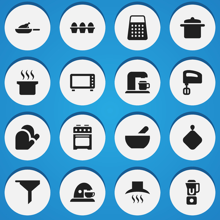 Set Of 16 Editable Food Icons. Includes Symbols Such As Grill, Kitchen Hood, Oven And More. Can Be Used For Web, Mobile, UI And Infographic Design.