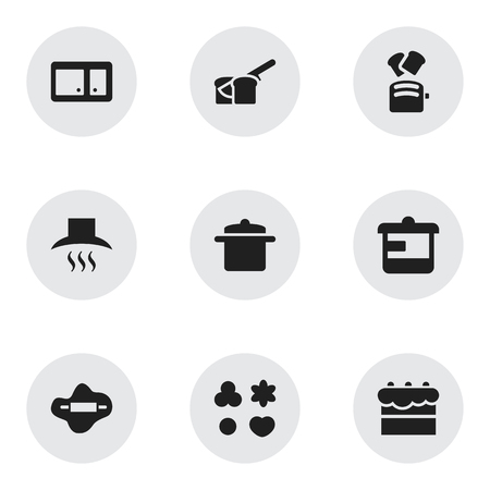 Set Of 9 Editable Food Icons. Includes Symbols Such As Bakery, Slice Bread, Kitchen Hood And More. Can Be Used For Web, Mobile, UI And Infographic Design.