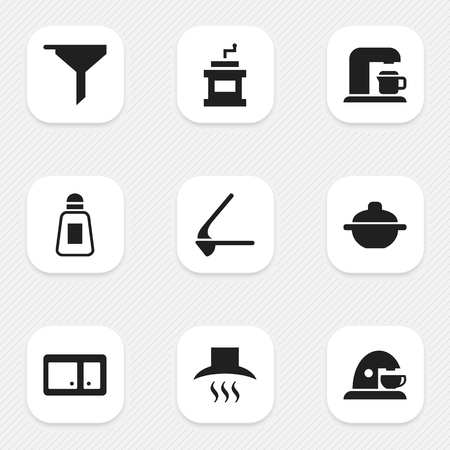 Set Of 9 Editable Food Icons. Includes Symbols Such As Saucepan, Mocha Grinder, Cup And More. Can Be Used For Web, Mobile, UI And Infographic Design.