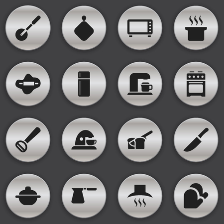 Set Of 16 Editable Cook Icons. Includes Symbols Such As Kitchen Glove, Cup, Husker And More. Can Be Used For Web, Mobile, UI And Infographic Design. Illustration