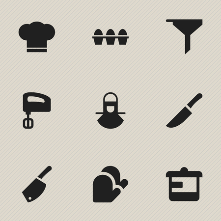 Set Of 9 Editable Cook Icons. Includes Symbols Such As Utensil, Cook Cap, Agitator And More. Can Be Used For Web, Mobile, UI And Infographic Design. Illustration