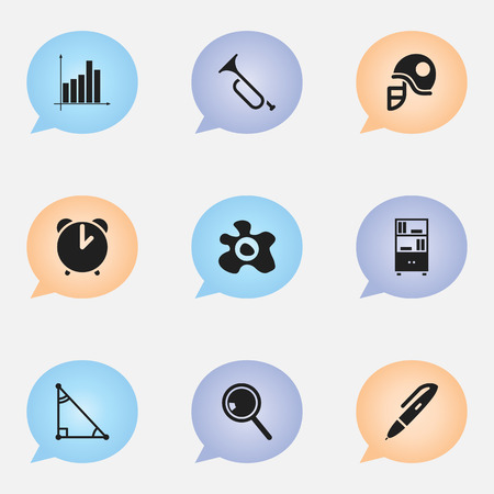 handglass: Set Of 9 Editable School Icons. Includes Symbols Such As Omelette, Bugle, Pen And More. Can Be Used For Web, Mobile, UI And Infographic Design. Illustration
