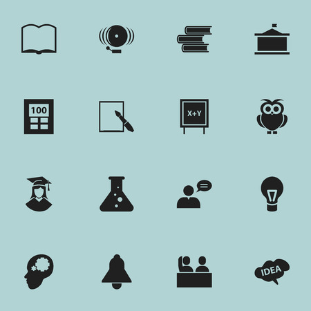 Set Of 16 Editable School Icons. Includes Symbols Such As Bell, Book, Ring And More. Can Be Used For Web, Mobile, UI And Infographic Design.