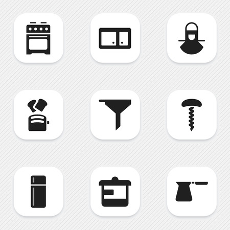 Set Of 9 Editable Cooking Icons. Includes Symbols Such As Coffee Pot, Sideboard, Stove And More. Can Be Used For Web, Mobile, UI And Infographic Design.