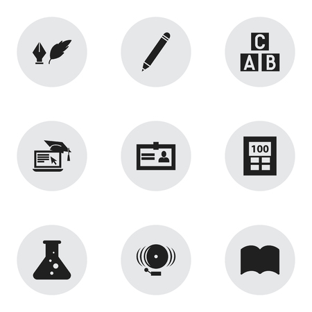 Set Of 9 Editable School Icons. Includes Symbols Such As Dictionary, Ring, Literature And More. Can Be Used For Web, Mobile, UI And Infographic Design.