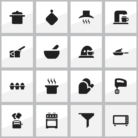 Set Of 16 Editable Cook Icons. Includes Symbols Such As Oven, Egg Carton, Drink Maker And More. Can Be Used For Web, Mobile, UI And Infographic Design.
