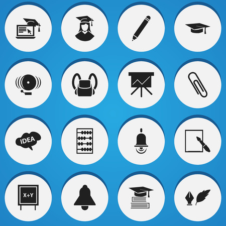 baccalaureate: Set Of 16 Editable University Icons. Includes Symbols Such As Notepaper, Arithmetic, Mind And More. Can Be Used For Web, Mobile, UI And Infographic Design.