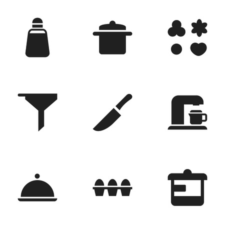 Set Of 9 Editable Meal Icons. Includes Symbols Such As Knife, Cookware, Egg Carton And More. Can Be Used For Web, Mobile, UI And Infographic Design.