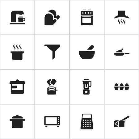 Set Of 16 Editable Food Icons. Includes Symbols Such As Grill, Slice Bread, Oven And More. Can Be Used For Web, Mobile, UI And Infographic Design.