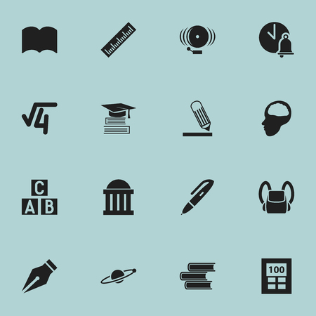 Set Of 16 Editable School Icons. Includes Symbols Such As Ring, Schoolbag, Library And More. Can Be Used For Web, Mobile, UI And Infographic Design.