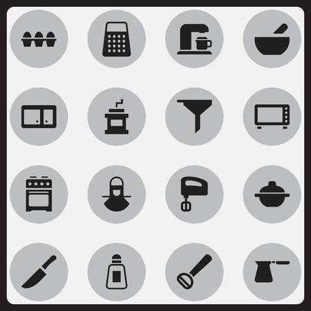 Set Of 16 Editable Cooking Icons. Includes Symbols Such As Egg Carton, Filtering, Coffee Pot And More. Can Be Used For Web, Mobile, UI And Infographic Design.