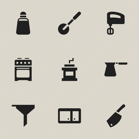 Set Of 9 Editable Food Icons. Includes Symbols Such As Paprika, Stove, Agitator And More. Can Be Used For Web, Mobile, UI And Infographic Design. Stock Vector - 77074509
