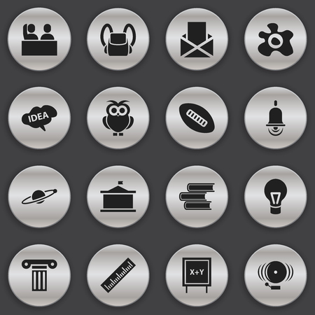 baccalaureate: Set Of 16 Editable University Icons. Includes Symbols Such As Ring, Student, Oval Ball And More. Can Be Used For Web, Mobile, UI And Infographic Design.