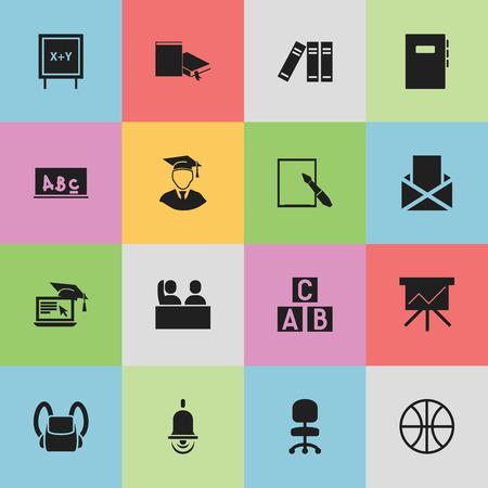 Ensemble de 16 icônes d'éducation modifiables. Comprend des symboles tels que bibliothèque, panier, enveloppe, etc. Peut être utilisé pour la conception Web, mobile, UI et infographique.