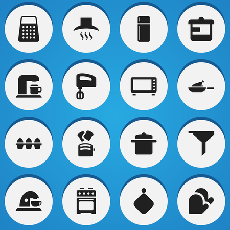 originator: Set Of 16 Editable Meal Icons. Includes Symbols Such As Cookware, Oven, Shredder And More. Can Be Used For Web, Mobile, UI And Infographic Design.