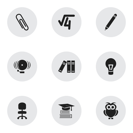 Set Of 9 Editable School Icons. Includes Symbols Such As Lamp, Ring, Staple And More. Can Be Used For Web, Mobile, UI And Infographic Design.