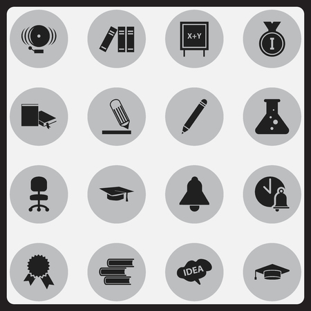 Set Of 16 Editable Science Icons. Includes Symbols Such As Graduation Hat, Bookshelf, Victory Medallion And More. Can Be Used For Web, Mobile, UI And Infographic Design.