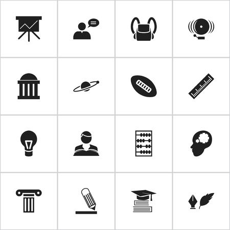 Ensemble de 16 icônes de remise des diplômes modifiables. Comprend des symboles tels que cartable, écriture, boule ovale et plus encore. Peut être utilisé pour Web, Mobile, UI et conception infographique.