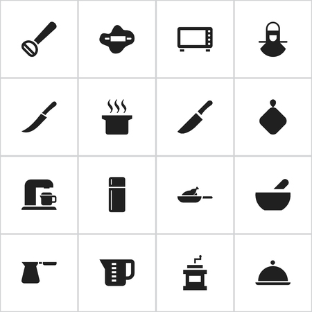 pad: Set Of 16 Editable Cooking Icons. Includes Symbols Such As Soup Pot, Grill, Coffee Pot And More. Can Be Used For Web, Mobile, UI And Infographic Design. Illustration