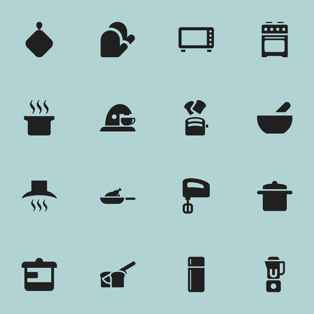 fireproof: Set Of 16 Editable Cook Icons. Includes Symbols Such As Kitchen Hood, Soup Pot, Refrigerator And More. Can Be Used For Web, Mobile, UI And Infographic Design.