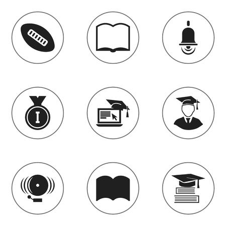 Ensemble de 9 icônes universitaires modifiables. Inclut des symboles tels que la boule ovale, l'anneau, la cloche d'alarme et plus. Peut être utilisé pour Web, Mobile, UI et conception infographique. Vecteurs