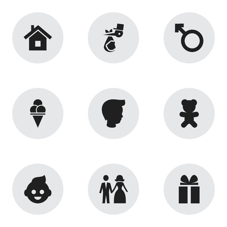 Set Of 9 Editable Folks Icons. Includes Symbols Such As Child, Home, Married And More. Can Be Used For Web, Mobile, UI And Infographic Design.