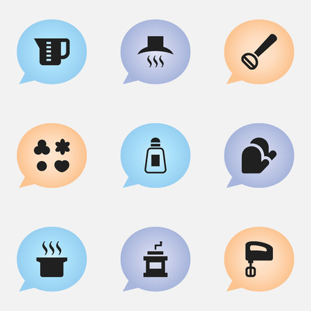 Set Of 9 Editable Food Icons. Includes Symbols Such As Husker, Agitator, Kitchen Glove And More. Can Be Used For Web, Mobile, UI And Infographic Design. Vettoriali