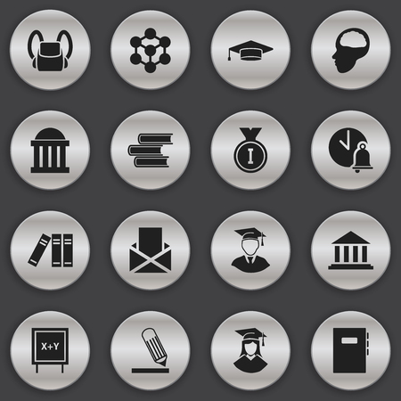 baccalaureate: Set Of 16 Editable Science Icons. Includes Symbols Such As First Place, Blackboard, Graduate And More. Can Be Used For Web, Mobile, UI And Infographic Design.