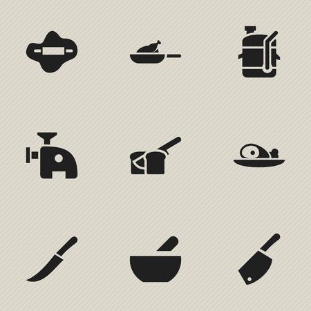 Set van 9 bewerkbare voedselpictogrammen. Bevat symbolen zoals deeg, meszwaard, grill en meer. Kan worden gebruikt voor Web, Mobile, UI en Infographic Design. Stock Illustratie