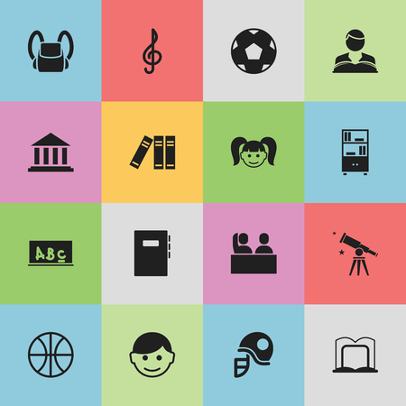 Set Of 16 Editable Education Icons. Includes Symbols Such As School Board, Scholar, Basket Play And More. Can Be Used For Web, Mobile, UI And Infographic Design.