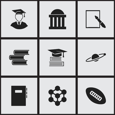 baccalaureate: Set Of 9 Editable Graduation Icons. Includes Symbols Such As Diplomaed Male, Molecule, Astrology And More. Can Be Used For Web, Mobile, UI And Infographic Design. Illustration