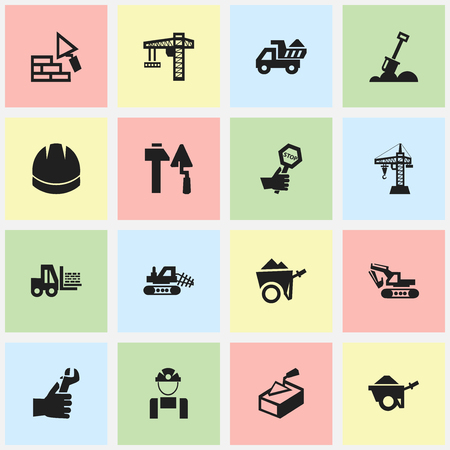 Set Of 16 Editable Construction Icons. Includes Symbols Such As Facing, Elevator, Hands. Can Be Used For Web, Mobile, UI And Infographic Design. Illustration