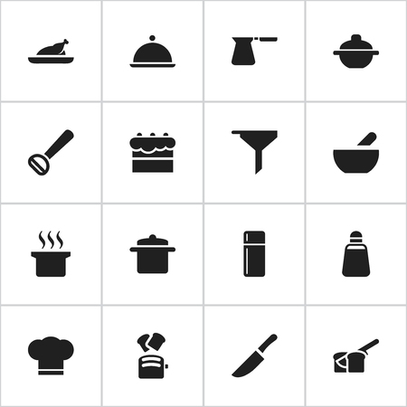 Set Of 16 Editable Food Icons. Includes Symbols Such As Fried Chicken, Filtering, Paprika And More. Can Be Used For Web, Mobile, UI And Infographic Design. Illustration