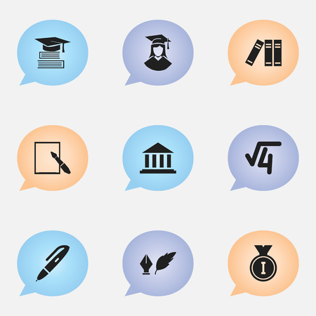 Set Of 9 Editable University Icons. Includes Symbols Such As Math Root, Museum, Graduated Female And More. Can Be Used For Web, Mobile, UI And Infographic Design.