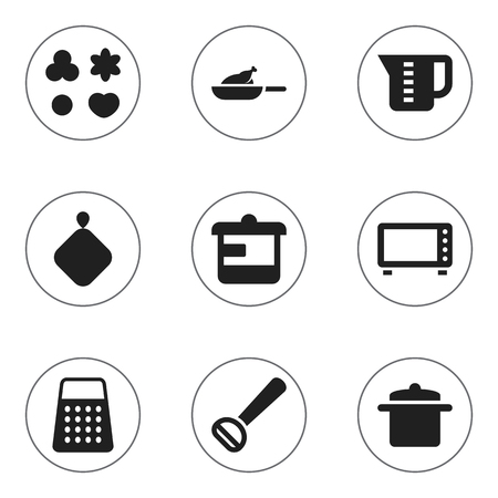 pad: Set Of 9 Editable Cooking Icons. Includes Symbols Such As Husker, Mensural, Utensil And More. Can Be Used For Web, Mobile, UI And Infographic Design.