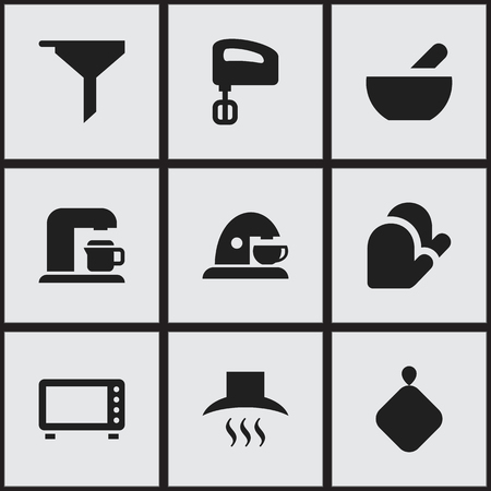 fireproof: Set Of 9 Editable Meal Icons. Includes Symbols Such As Pot-Holder, Kitchen Hood, Agitator And More. Can Be Used For Web, Mobile, UI And Infographic Design. Illustration