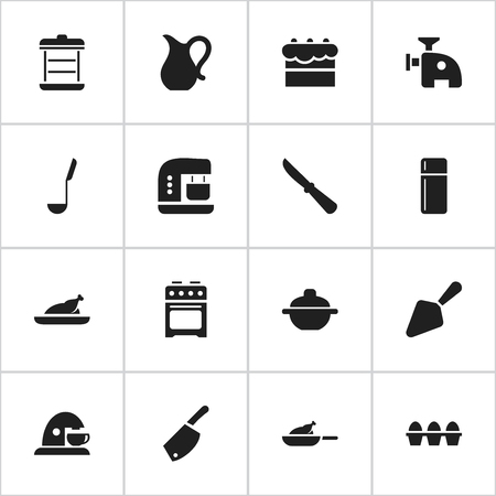 originator: Set Of 16 Editable Cooking Icons. Includes Symbols Such As Egg Carton, Meat Grinder, Refrigerator And More. Can Be Used For Web, Mobile, UI And Infographic Design.