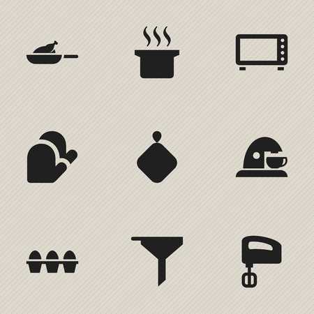 Set Of 9 Editable Meal Icons. Includes Symbols Such As Oven, Agitator, Kitchen Glove And More. Can Be Used For Web, Mobile, UI And Infographic Design. Çizim