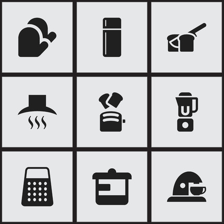 Set Of 9 Editable Cook Icons. Includes Symbols Such As Slice Bread, Refrigerator, Shredder And More. Can Be Used For Web, Mobile, UI And Infographic Design. Illustration