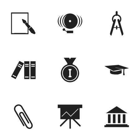 Ensemble de 9 icônes scolaires modifiables. Comprend des symboles tels que l'agrafe, le premier lieu, le chapeau de graduation et plus encore. Peut être utilisé pour la conception Web, mobile, UI et infographique.
