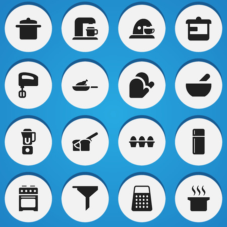originator: Set Of 16 Editable Food Icons. Includes Symbols Such As Refrigerator, Soup Pot, Kitchen Glove And More. Can Be Used For Web, Mobile, UI And Infographic Design.
