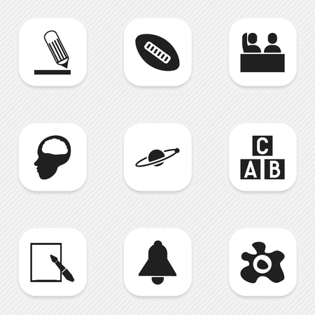 Set Of 9 Editable Education Icons. Includes Symbols Such As Omelette, Alphabet Cube, Oval Ball And More. Can Be Used For Web, Mobile, UI And Infographic Design. Illustration