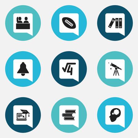 Ensemble de 9 icônes de remise des diplômes modifiables. Comprend des symboles tels que bibliothèque, jumelles, racine mathématique, etc. Peut être utilisé pour la conception Web, mobile, UI et infographique.