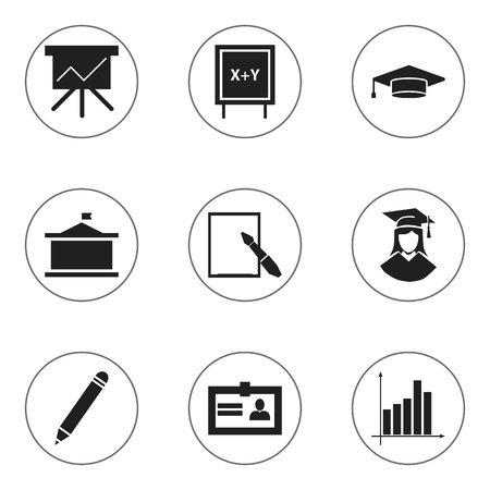 Set Of 9 Editable Science Icons. Includes Symbols Such As Blackboard, Univercity, Graduate And More. Can Be Used For Web, Mobile, UI And Infographic Design. Illustration