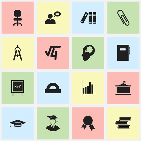 Set Of 16 Editable School Icons. Includes Symbols Such As Victory Medallion, Work Seat, Thinking Man And More. Can Be Used For Web, Mobile, UI And Infographic Design.